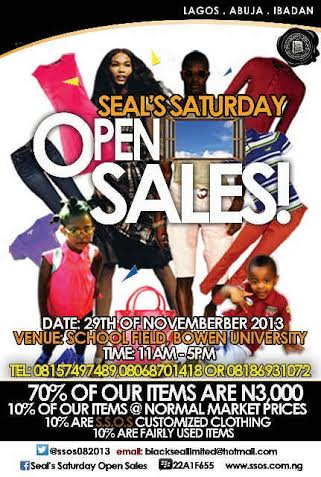 Seal Saturday Open sales.